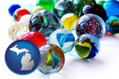 michigan map icon and glass marbles