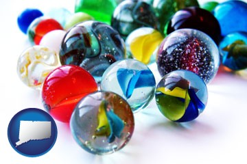 glass marbles - with Connecticut icon