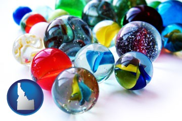 glass marbles - with Idaho icon