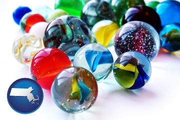 glass marbles - with Massachusetts icon
