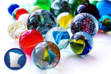 glass marbles - with Minnesota icon