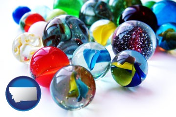 glass marbles - with Montana icon
