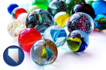 glass marbles - with Nevada icon