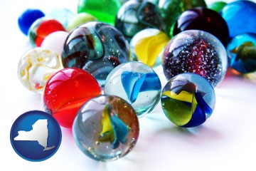 glass marbles - with New York icon