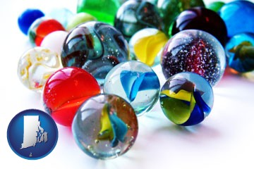 glass marbles - with Rhode Island icon